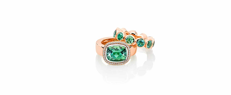 Unsere 750 Rotgold Ringe mit grünen Turmalinen und weißen Brillanten für jeden Anlass