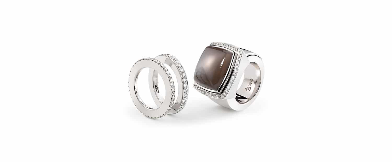 Unser 750 Weißgold Ring mit Memoireringen und Brillanten