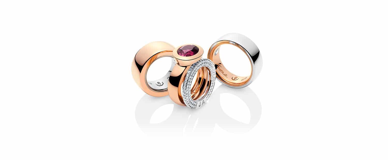 Unsere 750 Rotgold 950 Palladium Eheringe mit Brillanten und Verlobungsring mit pinkem Turmalin